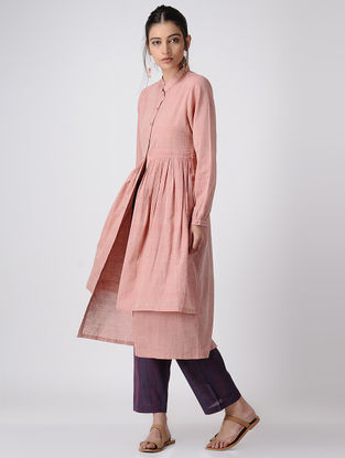 Pink Handloom Cotton Layered Kurta by Jaypore