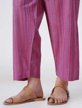 Pink Tie-up Waist Handloom Cotton Pants by Jaypore