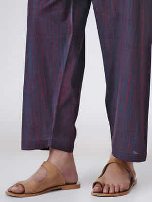 Blue-Red Tie-up Waist Handloom Cotton Pants by Jaypore