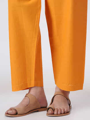 Yellow Tie-up Waist Handloom Cotton Pants by Jaypore