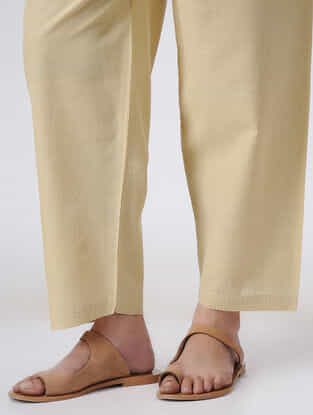 Beige Tie-up Waist Handloom Cotton Pants by Jaypore