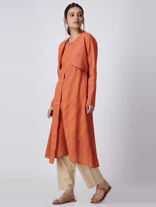 Orange Handloom Cotton Kurta with Jacket by Jaypore