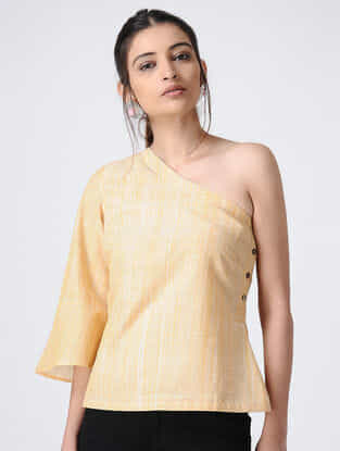 Yellow Handloom Cotton One-shoulder Top by Jaypore