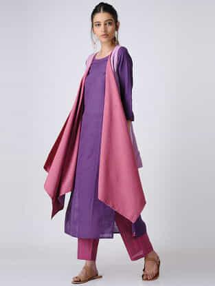 Purple-Pink Handloom Cotton Reversible Cape by Jaypore