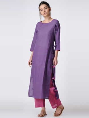Purple Handloom Cotton Kurta with Tassels by Jaypore