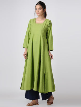 Green Handloom Cotton Kalidar Kurta by Jaypore