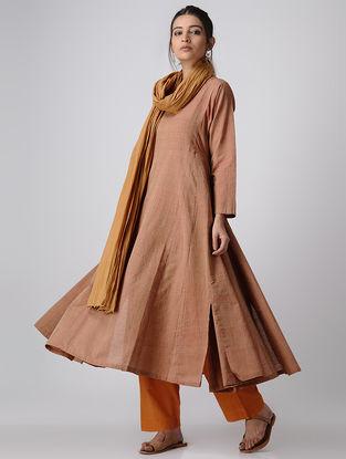Beige Handloom Cotton Kalidar Kurta by Jaypore