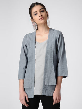 Blue-Grey Handloom Cotton Jacket and Top by Jaypore (Set of 2)