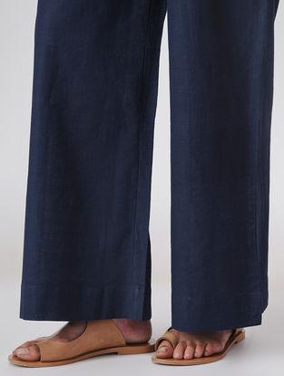 Blue Elasticated-waist Handloom Cotton Palazzos by Jaypore