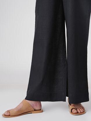 Black Elasticated-waist Handloom Cotton Palazzos by Jaypore