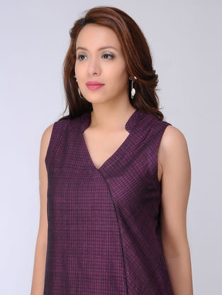 Purple Checkered Handloom Cotton Dress by Jaypore