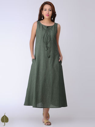 Green Checkered Handloom Cotton Dress by Jaypore