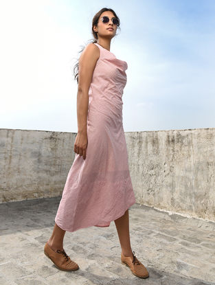 Ivory-Pink Cotton Khadi Dress by Jaypore