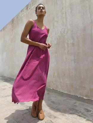 Pink Handloom Cotton Dress by Jaypore
