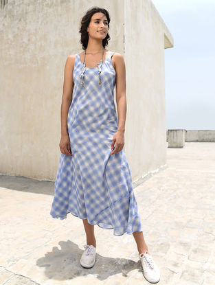 Ivory-Blue Cotton Khadi Dress by Jaypore