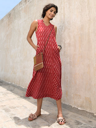 Ivory-Red Cotton Ikat Dress by Jaypore