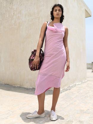 Ivory-Pink Cotton Khadi Dress by Jaypore