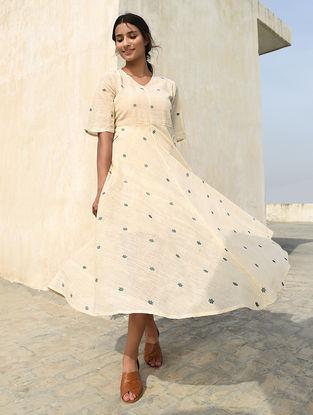 Ivory-Blue Handloom Cotton Dress by Jaypore