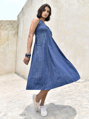 Indigo-Ivory Handloom Cotton Dress by Jaypore