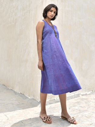 Blue-Red Handloom Cotton Dress by Jaypore