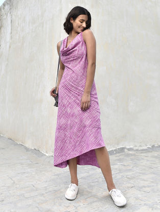 Purple-Ivory Cowl Neck Cotton Khadi Dress by Jaypore