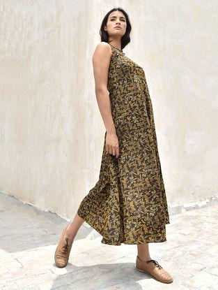 Brown-Mustard Natural dye Ajrakh Cotton Dress by Jaypore