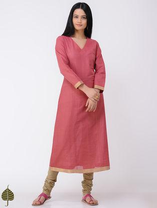 Peach Handloom Cotton Kurta with Zari Border by Jaypore
