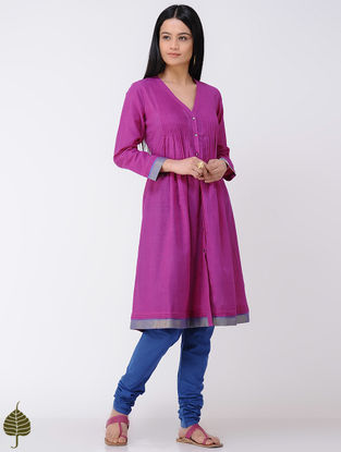 Fuchsia Handloom Cotton Kurta with Zari Border by Jaypore