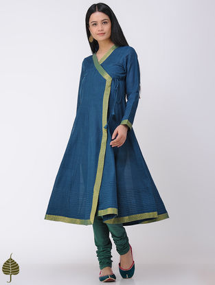 Indigo Handloom Cotton Angrakha with Zari Border by Jaypore