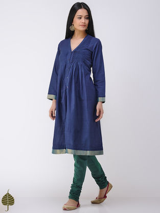 Indigo Handloom Cotton Kurta with Zari Border by Jaypore