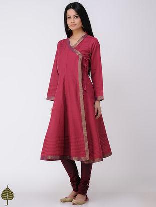 Red Handloom Cotton Angrakha with Zari Border by Jaypore