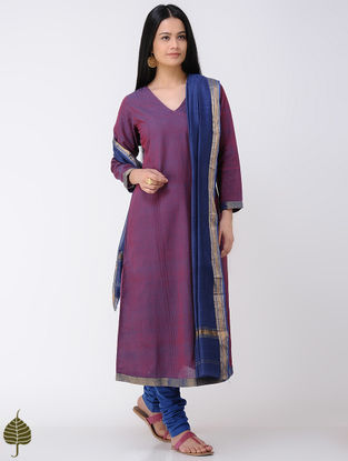 Pink-Blue Handloom Cotton Kurta with Zari Border by Jaypore