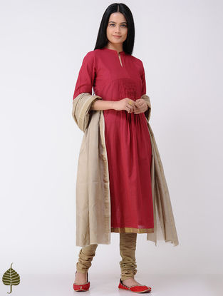 Red Handloom Cotton Kurta with Zari Border by Jaypore