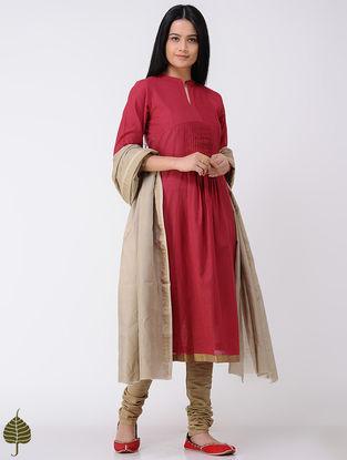 Red Handloom Cotton Kurta with Zari Border by Jaypore