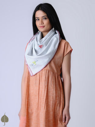 White-Blue Handloom Khadi Scarf with Applique by Jaypore