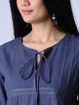 Blue Surface Textured Handloom Khadi Kurta by Jaypore