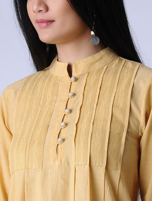 Yellow Surface Textured Handloom Khadi Kurta by Jaypore