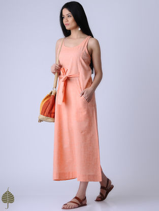 Orange Handloom Khadi Dress by Jaypore