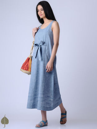 Blue Handloom Khadi Dress by Jaypore
