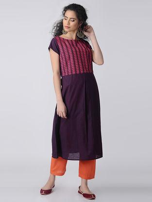 Purple-Pink Embroidered Cotton Kurta by Jaypore