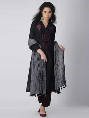 Black-Pink Embroidered Cotton Kurta by Jaypore