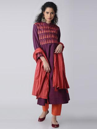 Purple-Orange Embroidered Cotton Kurta by Jaypore
