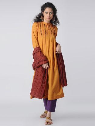 Mustard-Orange Embroidered Cotton Kurta by Jaypore