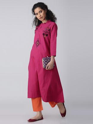 Pink-Purple Embroidered Cotton Kurta by Jaypore