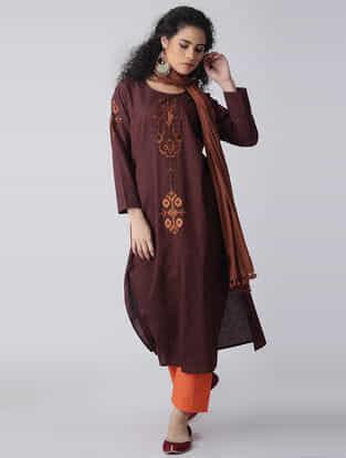 Maroon-Brown Embroidered Cotton Kurta by Jaypore