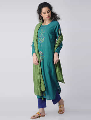 Blue-Green Embroidered Cotton Kurta by Jaypore