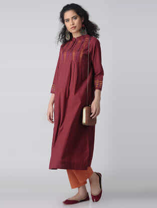 Maroon-Orange Embroidered Cotton Kurta by Jaypore