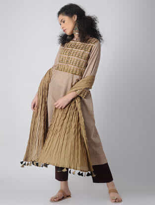 Brown-Green Embroidered Cotton Kurta by Jaypore