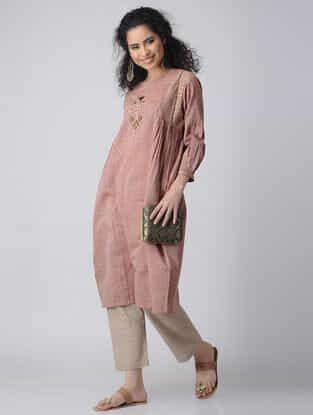 Pink-Beige Embroidered Cotton Kurta by Jaypore