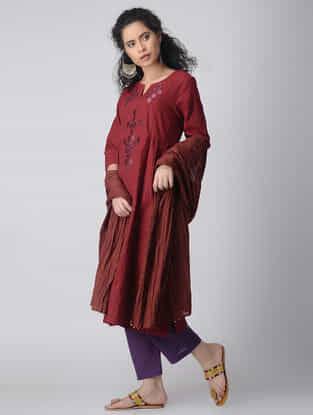 Maroon-Purple Embroidered Cotton Kurta by Jaypore